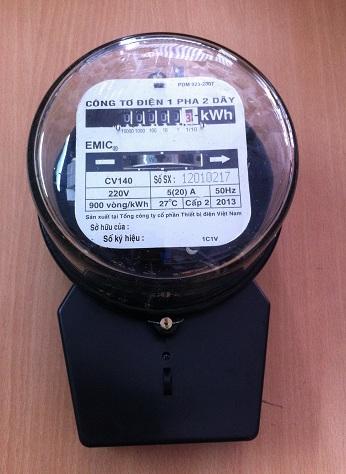 KWH 1 pha 220V 20/80A, nắp thủy tinh
