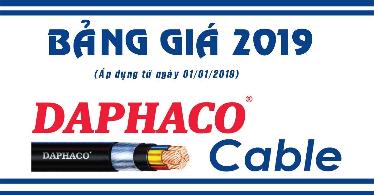 Bảng giá, Catalog cáp điện Daphaco 2019