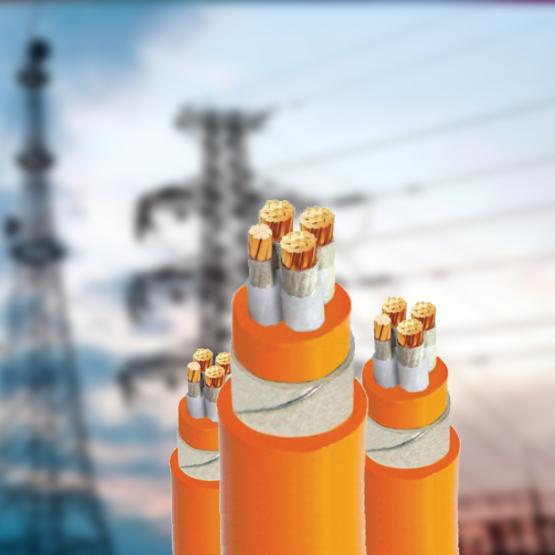 Cáp chống cháy, 3 pha 1 trung tính, ruột đồng, cách điện XLPE - 0.6/1KV, Giáp 2 băng thép, vỏ bọc FR- PVC.
