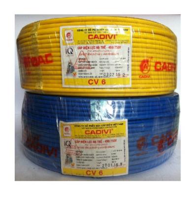 Cáp điện 1 ruột đồng vỏ nhựa CV-6 (7/1.04) 450/750V