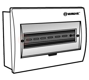 Tủ điện mặt nhựa bóng, đế sắt chứa 8 - 12 module E4FC 8/12S